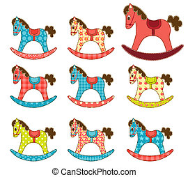 Set of patchwork horses 7.