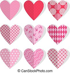 Set of patchwork vintage hearts in stitched textile style. Design elements for Valentines Day or Wedding Holidays.
