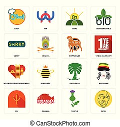 Set of patel, thistle, psi, saudi palm, volunteer fire department, rottweiler, sorry, agro, chef icons