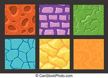 set of pattern for game background, stone and wall textures