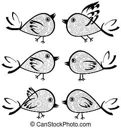 Set of patterned birds