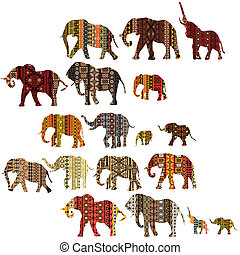 Set of patterned elephants in ethnic style