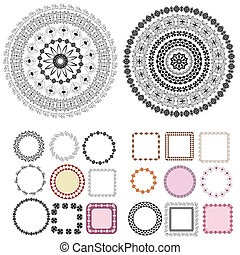 set of patterns and arabesques round frames