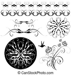 set of patterns and ornaments