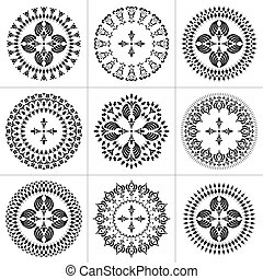 Set of patterns Cross in a circle