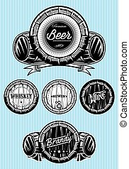 set of patterns for monochromatic emblems with barrels - set...