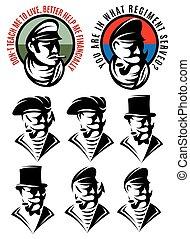 set of patterns of one man as swindler, adventurer, gangster, captain, pirate, gentleman