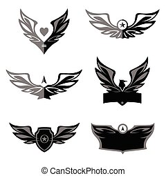 Set of patterns vector logo depicting an eagle, a bird.