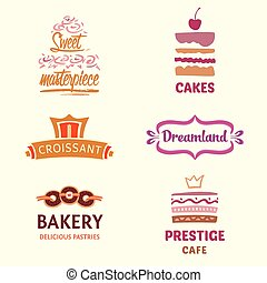 Set of patterns vector logos cakes. Logo confectionery,...