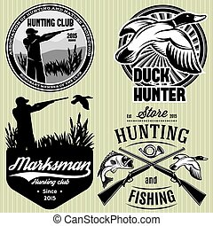 set of patterns with duck, dip, gun, hunter for hunting emblem