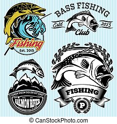 set of patterns with emblems for fishing with pike, salmon,...