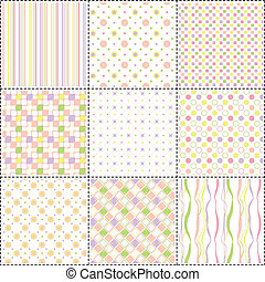 set of patterns with flower, stripe and shape
