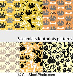 Set of patterns with footprints and bones