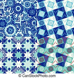 set of patterns with oriental decor