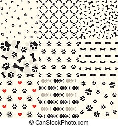 Set of patterns with paw footprints and bones