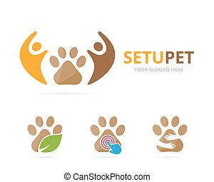 Set of paw logo combination. Pet and family symbol or icon. Unique vet and union, help, connect, team logotype design template.