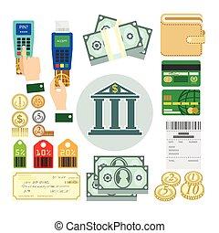 Set of payment methods. - Set of payment methods: cash money...