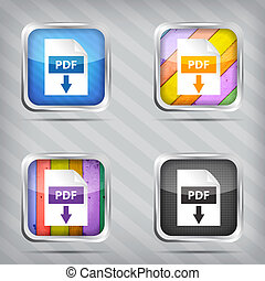 set of pdf download icons on a striped background