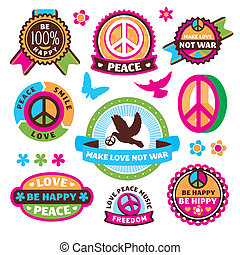 set of peace symbols and labels