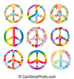 set of peace symbols - set of cute peace symbols