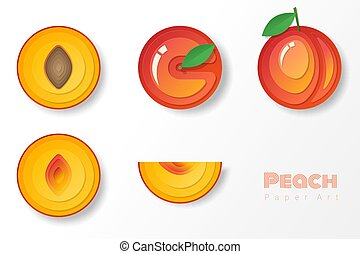 Set of peaches in paper art style