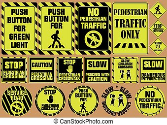 set of pedestrian crossing traffic