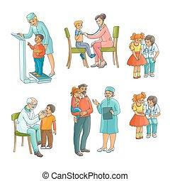 Set of pediatrician, doctor doing medical exam
