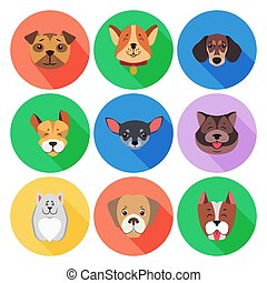 Set of Pedigreed Dogs on Colored Circle Icons