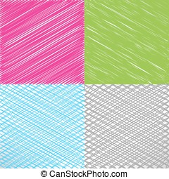 Set of pencil and marker hatching backgrounds. Hand-drawn...