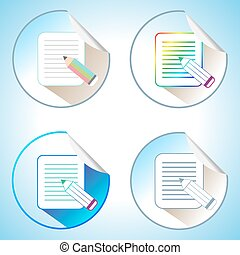Set of Pencil with Paper Page Icons