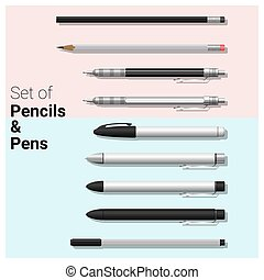 Set of pencils and pens