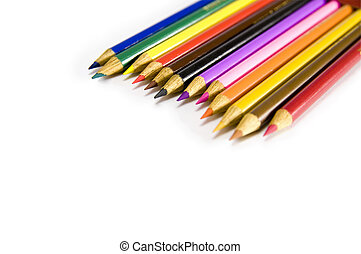 set of pencils on a white background