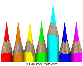 Set of pencils on white background. Isolated 3D image