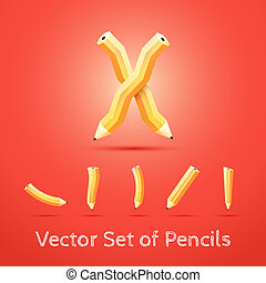 Set of Pencils. Vector Illustration.