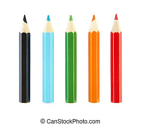 Set of pencils with clipping path.