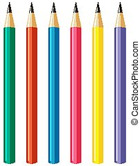 Set of pencils with different color sticks