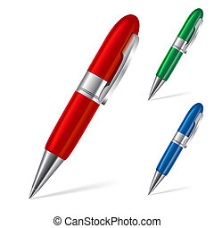 Set of pens - Set of three color ballpoint pens isolated on...