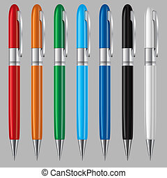 Set of pens - Set of colorful ball point pens on grey...