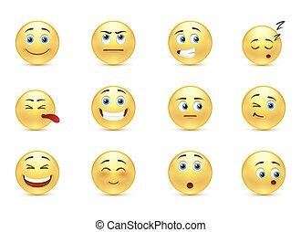 Set of pensive smiles
