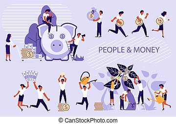 Set of people and money concept