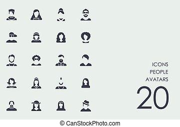 Set of people avatars icons