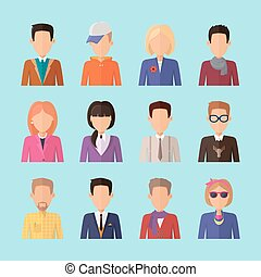 Set of People Characters Avatars in Flat Design.