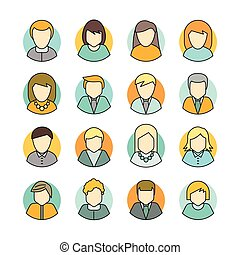 Set of People Characters Avatars in Flat Design