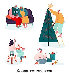 Set of People Characters celebrating Merry Christmas Season and Winter New Year. Family Parents and Children decorating Xmas tree, sing carols, packing presents at fireplace scene. Vector illustration