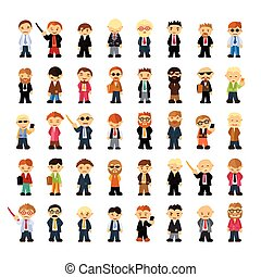 Set of people characters in flat style.