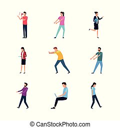 set of people doing actions, flat design