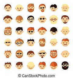 Set of people face icons in flat style.