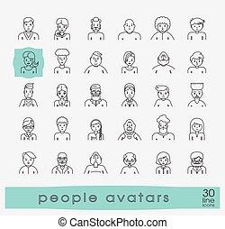 Set of people faces avatars.