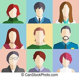 Set of People Faces Avatars Flat Icons