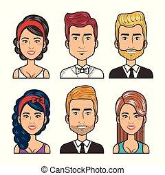 set of people happy men and women portrait design
